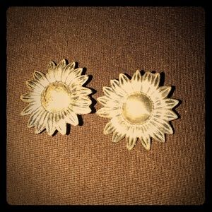 NWT VINTAGE STERLING SILVER SUNFLOWER EARRINGS